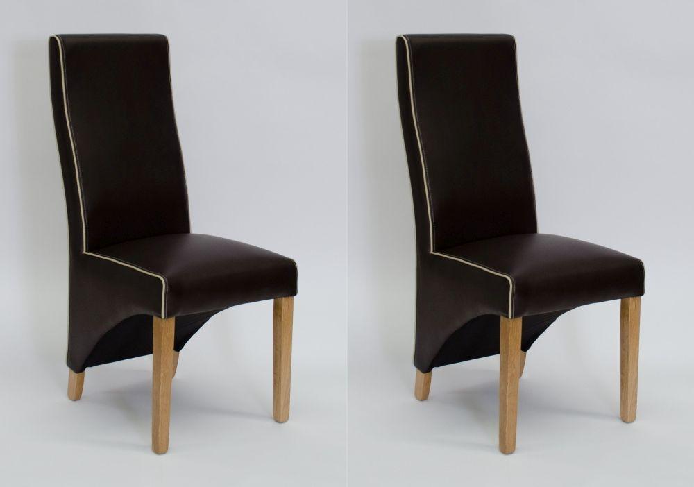 Homestyle GB Wave Bone Contrast Piping Dining Chair (Pair) - Suzuka Matt Coco