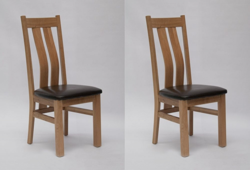 Homestyle GB Maria Dining Chair (Pair) - Oak and Dark Brown Leather