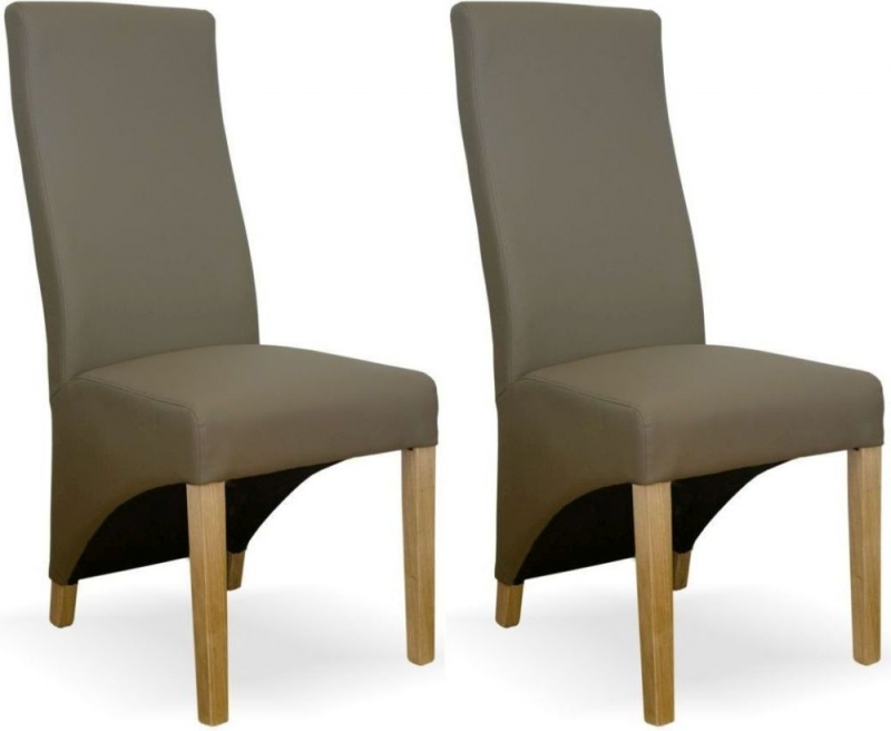 Homestyle GB Wave Dining Chair (Pair) - Mushroom Bonded Leather
