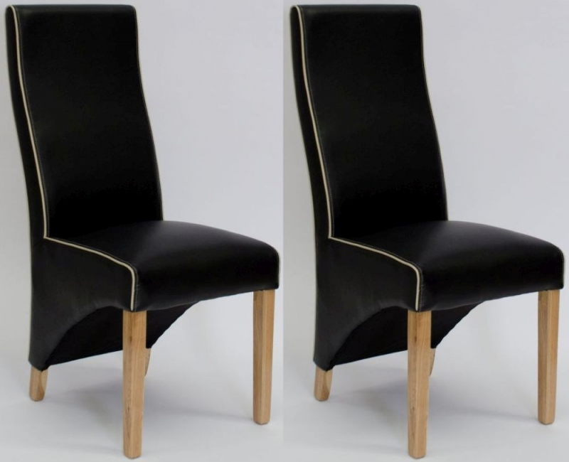 Homestyle GB Wave Noir Black Contrast Piping Dining Chair (Pair)