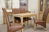 Homestyle GB Elegance Oak Rectangular Dining Set with 4 Contempo Tan Chairs - 120cm