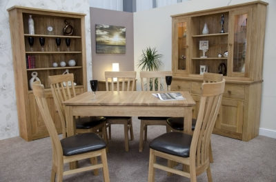 Homestyle GB Elegance Oak Rectangular Extending Dining Set with 6 Lucia Chairs - 142cm-212cm