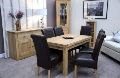 Homestyle GB Elegance Oak Dining Set - Medium Draw Leaf with 6 Louisa Brown Leather Chairs