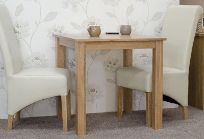 Homestyle GB Elegance Oak Dining Set - Square with 2 Richmond Ivory Chairs