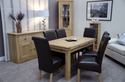 Homestyle GB Elegance Oak Rectangular Extending Dining Table
