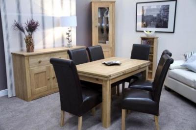 Homestyle GB Elegance Oak Dining Table - Medium Draw Leaf