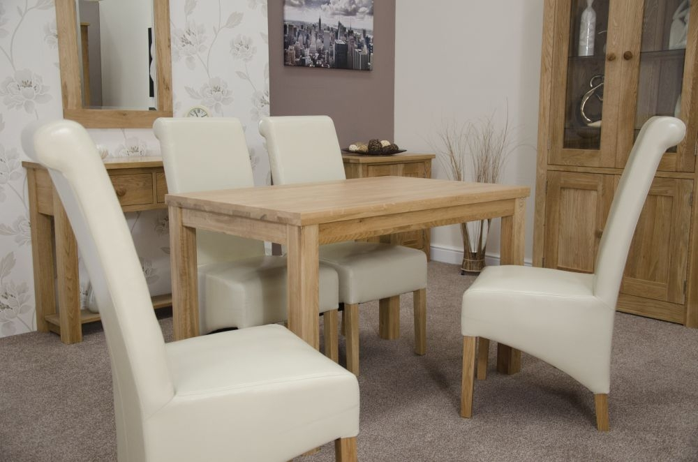 Homestyle GB Elegance Oak Rectangular Dining Set with 4 Richmond Ivory Chairs - 120cm