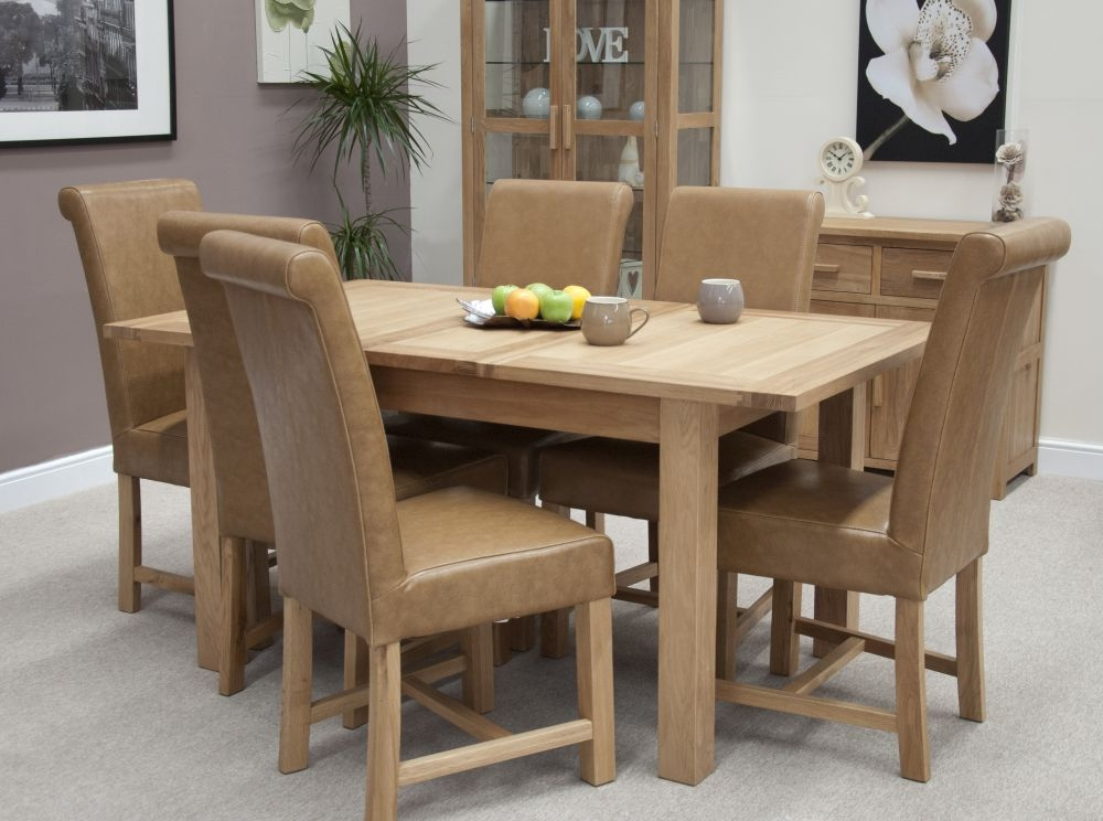 Homestyle GB Elegance Oak Rectangular Extending Dining Set with 6 Chunky Scroll Chairs - 132cm-198cm