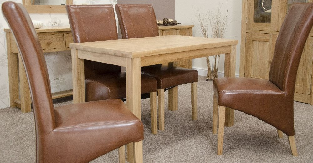 Buy Homestyle Gb Elegance Oak Dining Set Medium With 4 Contempo Tan Chairs Online Cfs Uk