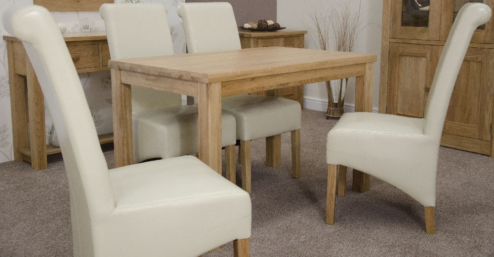 Homestyle GB Elegance Oak Dining Set - Medium with 4 Richmond Ivory Chairs