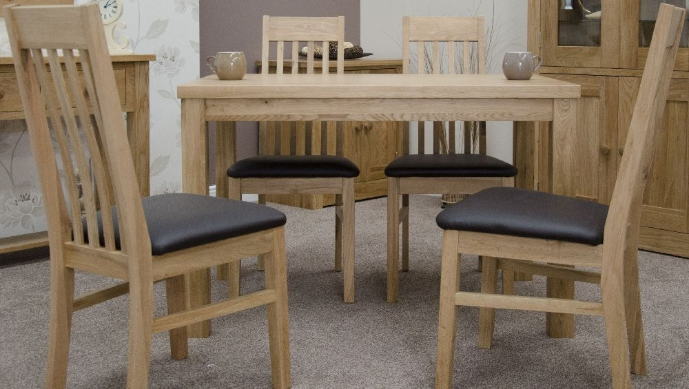 Buy Homestyle Gb Elegance Oak Dining Set Medium With 4 Sophia Chairs Online Cfs Uk