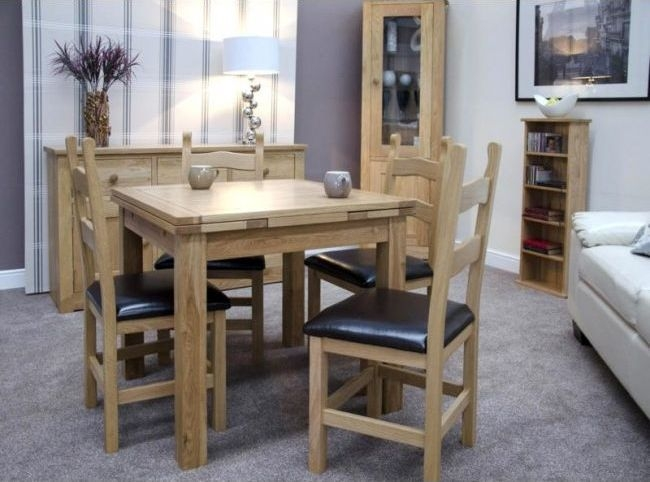 Homestyle GB Elegance Oak Extending Dining Table - Small Draw Leaf