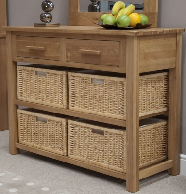 Clearance Homestyle GB Opus Oak Console Table with Basket