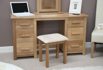 Clearance Homestyle GB Opus Oak Dressing Table and Stool - Twin Pedestal