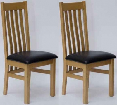Clearance Homestyle GB Perugia Oak Dining Chair with Brown Seat Pad (Pair) - 600
