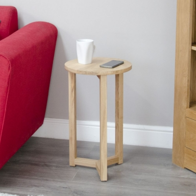 Homestyle GB Lyon Oak Round Occasional Lamp Table