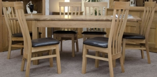 Homestyle GB Milano Oak Extending Dining Set and 6 Lucia Chairs