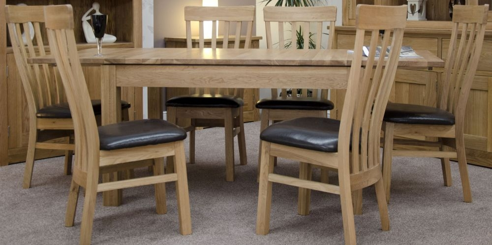 Homestyle GB Milano Oak Dining Set - 142cm-212cm Rectangular Extending with 6 Lucia Chairs