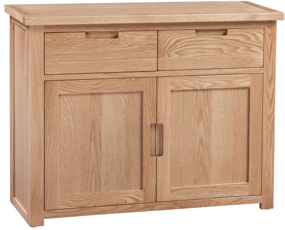 Homestyle GB Moderna Oak Sideboard - Small Narrow 2 Door 2 Drawer