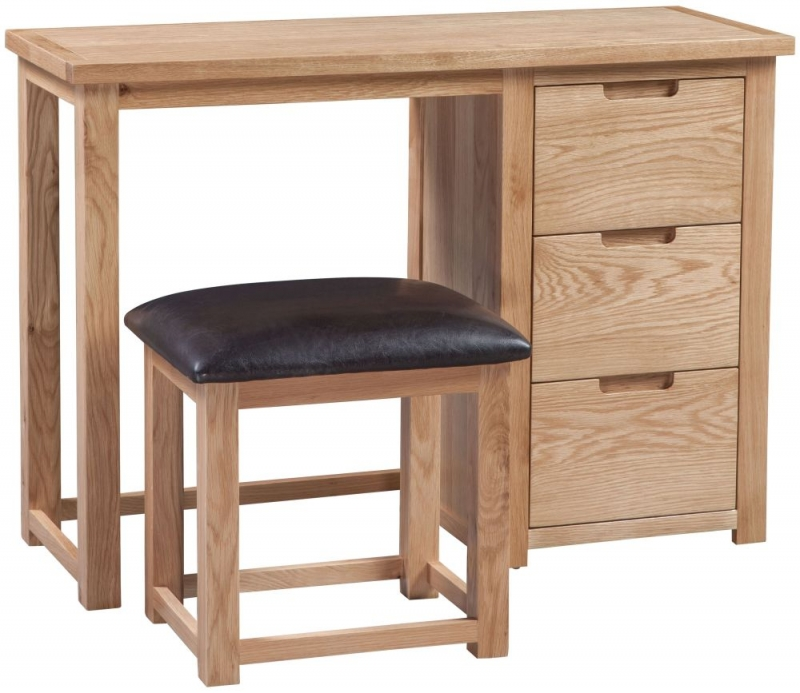 Homestyle GB Moderna Oak Single Pedestal Dressing Table with Stool