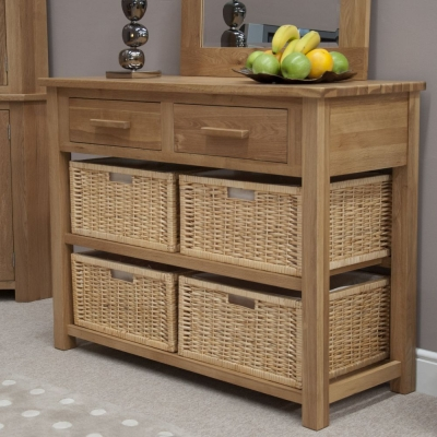 Homestyle GB Opus Oak Basket Console Table