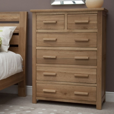 Homestyle GB Opus Oak Chest of Drawer - 2 Over 4 Drawer