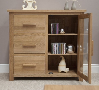 Homestyle GB Opus Oak Chest of Drawer - Small Glazed