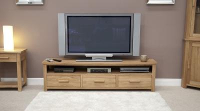 Homestyle GB Opus Oak Plasma TV Unit - Wide