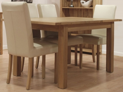 Homestyle GB Opus Oak Extending Dining Set and 4 Marianna Cream Leather Chairs