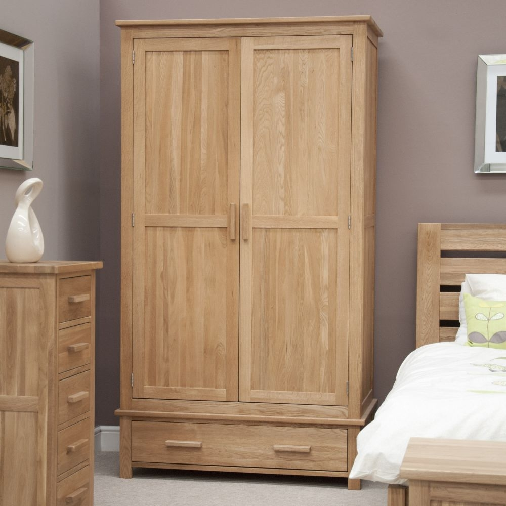 Homestyle GB Opus Oak 2 Door 1 Drawer Double Wardrobe