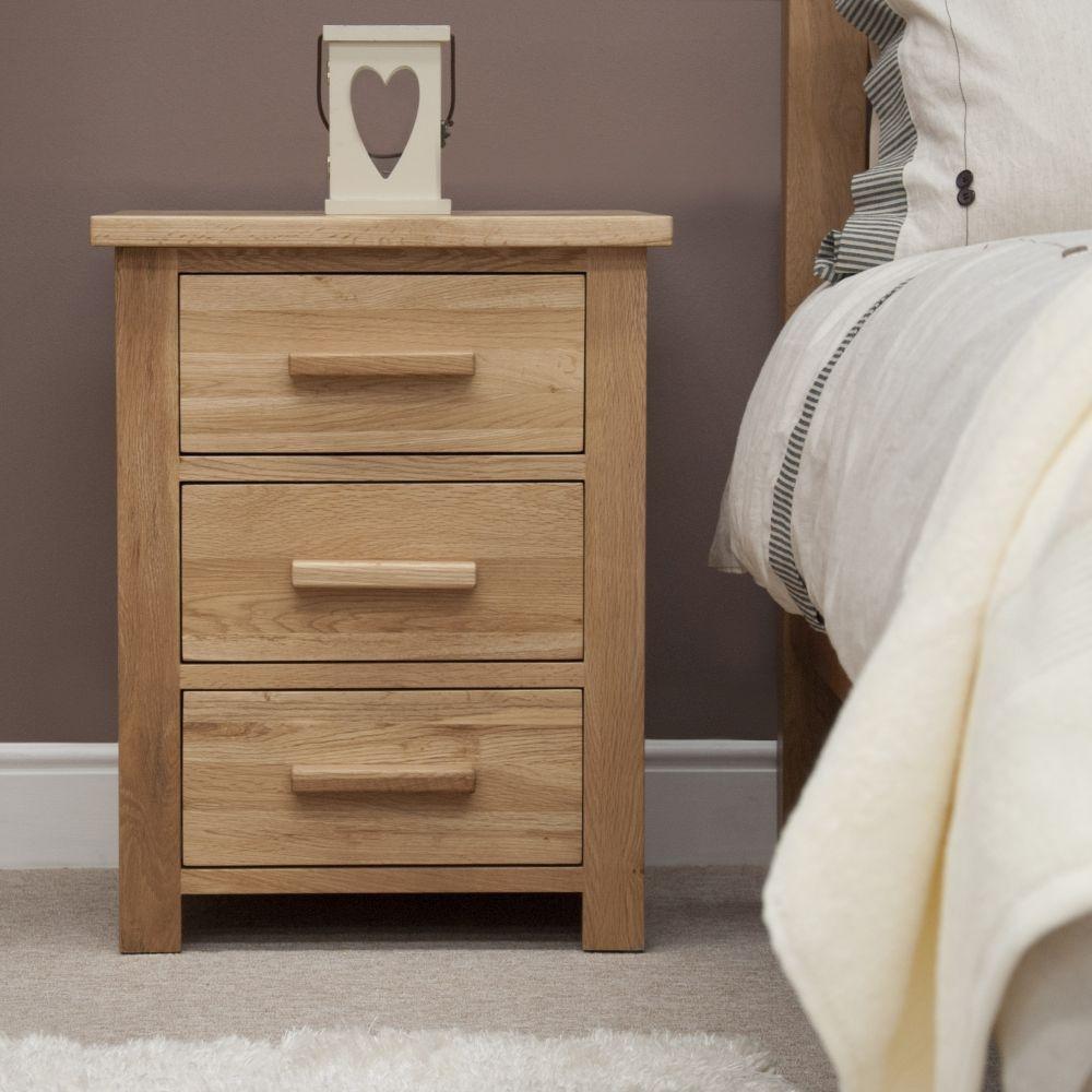 Homestyle GB Opus Oak 3 Drawer Bedside Cabinet