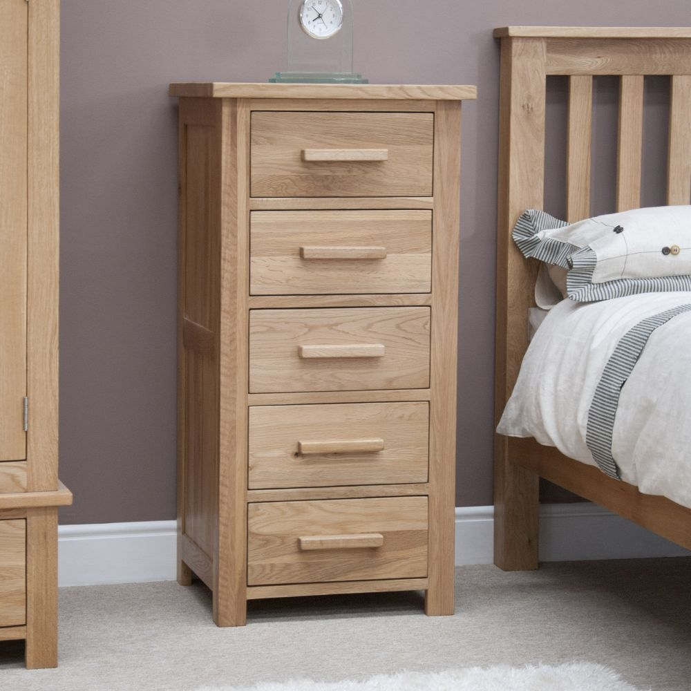 Homestyle GB Opus Oak Chest of Drawer - 5 Drawer Narrow