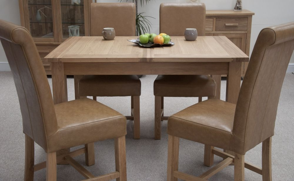 Homestyle GB Opus Oak Dining Set - Extending with 4 Louisa Tan Dining Chairs