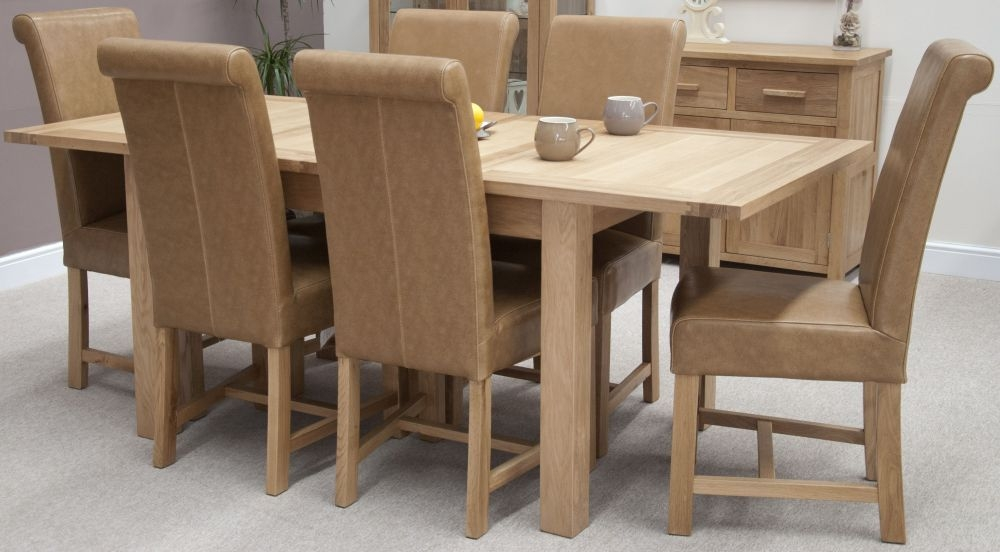 Homestyle GB Opus Oak Dining Set - Extending with 6 Louisa Tan Dining Chairs