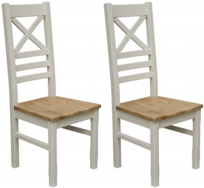 Homestyle GB Painted Deluxe Cross Back Dining Chair (Pair)