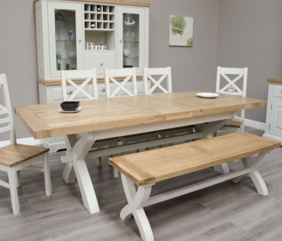 Homestyle GB Painted Deluxe X-Leg Extending Dining Table with 5 Cross Back Chairs and Bench