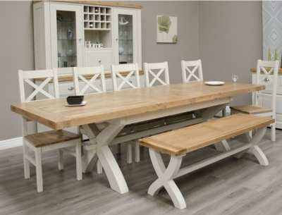 Homestyle GB Painted Deluxe X-Leg Extending Dining Table with 6 Cross Back Chairs and Bench