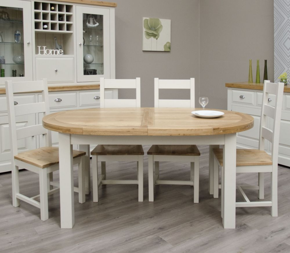 Homestyle GB Painted Deluxe Oval Extending Dining Table and Ladder Back Chairs