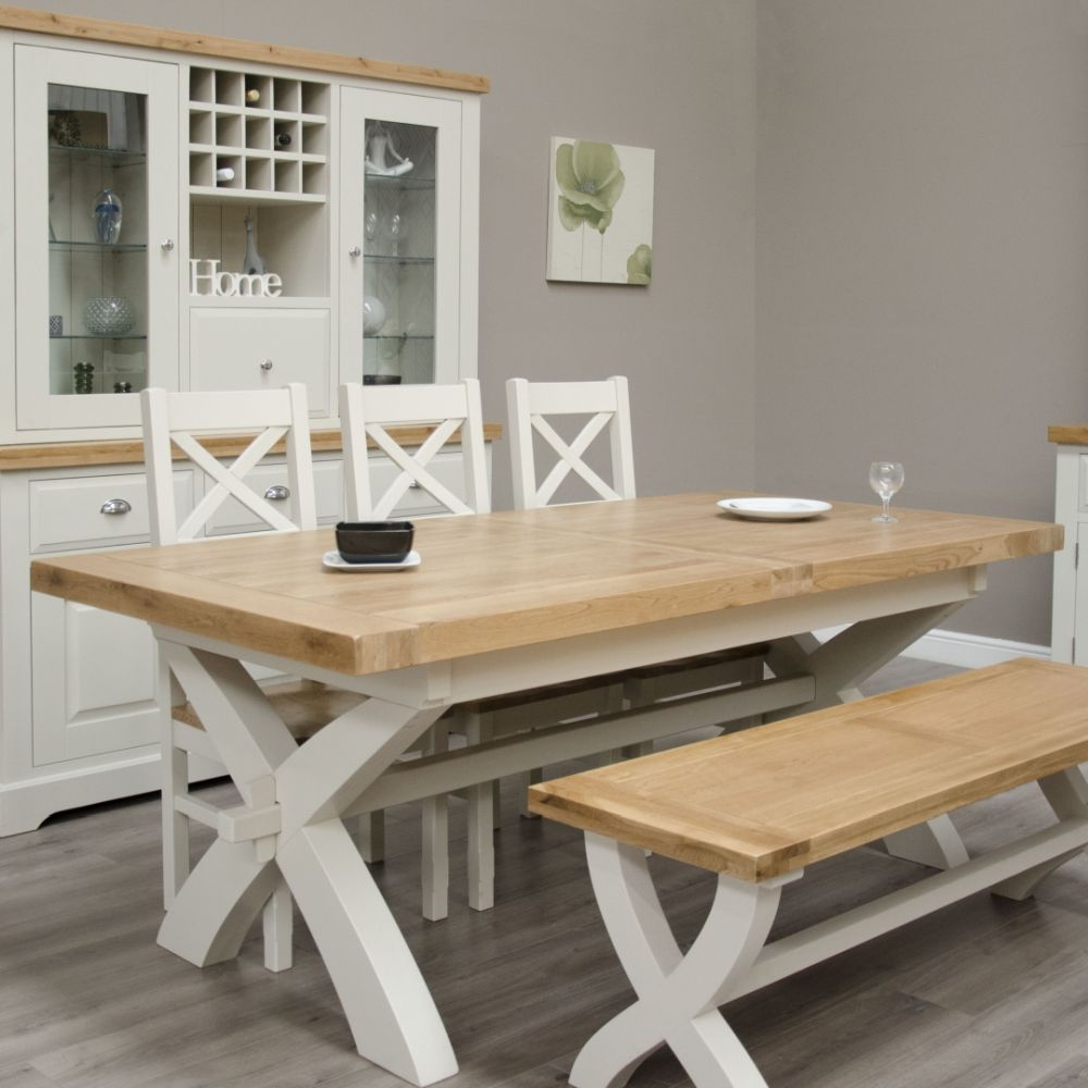 Homestyle GB Painted Deluxe X-Leg Extending Dining Table with 3 Cross Back Chairs and Bench