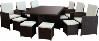 Homestyle GB Rattan Cube Dining Set with 6 Chair and 6 Stools
