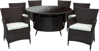 Homestyle GB Rattan Dining Set - Round with 6 Chairs