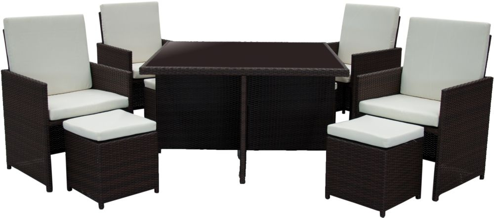 Homestyle GB Rattan Cube Dining Set with 4 Chair and 4 Stools