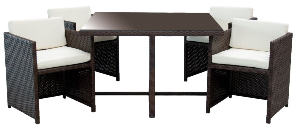 Homestyle GB Rattan Cube Economy Dining Set with 4 Chair