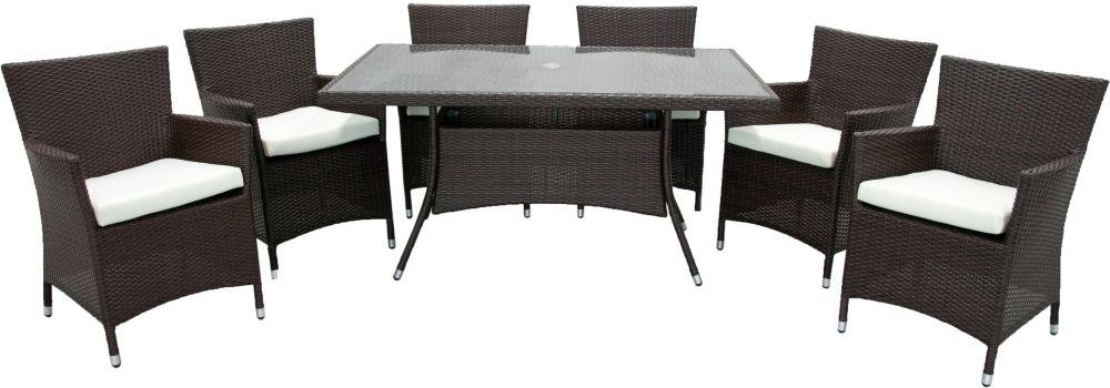 Homestyle GB Rattan Dining Set - Rectangular with 6 Chairs