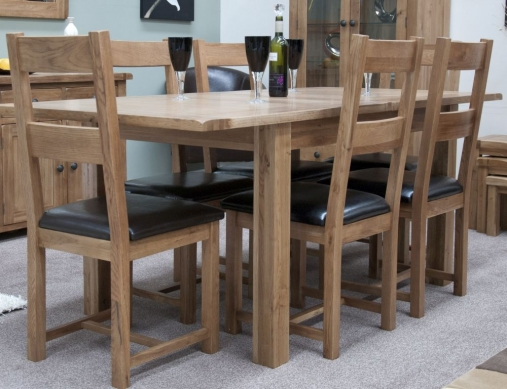 Buy Homestyle Gb Rustic Oak Dining Set Extending With 6 Rustic Leather Seat Chairs Online Cfs Uk