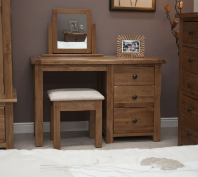 Homestyle GB Rustic Oak Single Pedestal Dressing Table and Stool