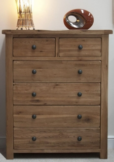 Homestyle GB Rustic Oak Chest of Drawer - 2 Over 4 Drawer