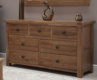 Homestyle GB Rustic Oak Chest of Drawer - 7 Drawer Multi