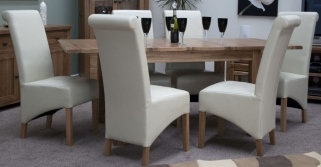 Homestyle GB Rustic Oak Dining Set - Extending with 6 Richmond Ivory Chairs
