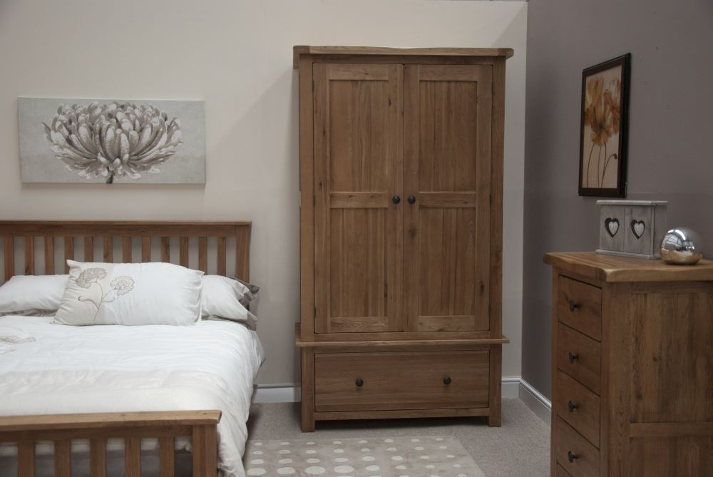 Homestyle GB Rustic Oak 2 Door 1 Drawer Double Wardrobe